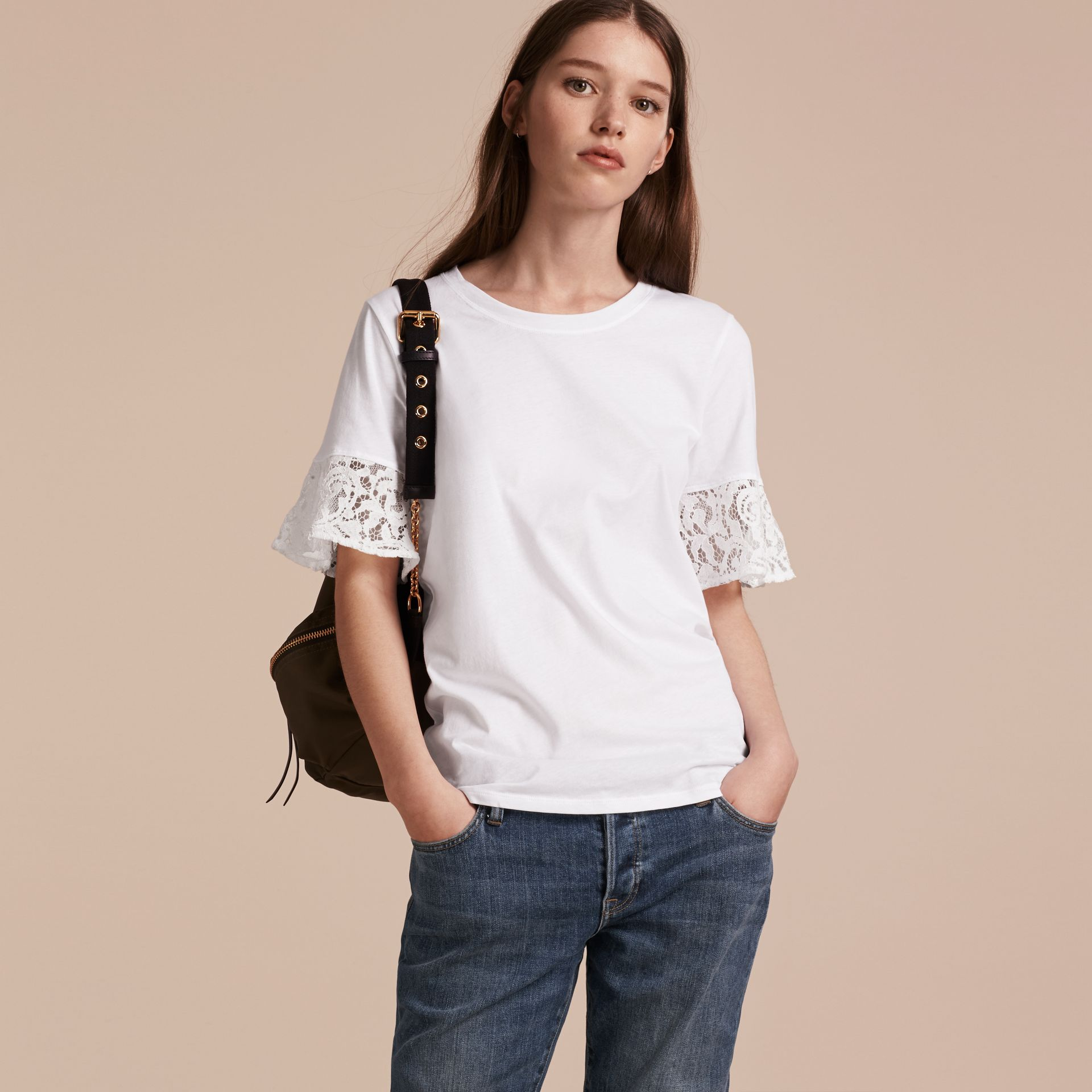 Lace Trim Cotton T-shirt in White - gallery image 6