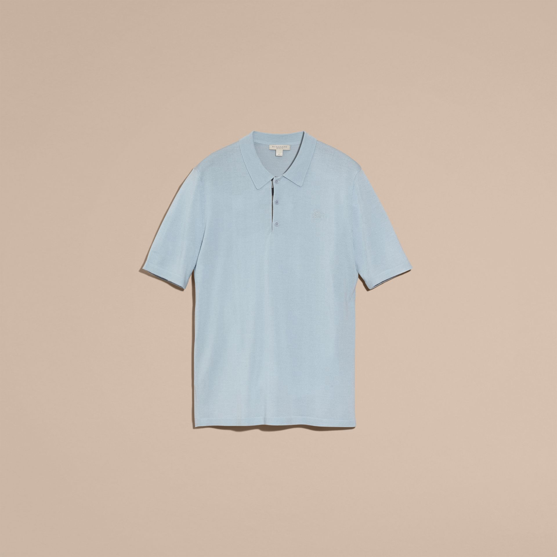 Pale sky blue Check Placket Wool and Silk Blend Polo Shirt Pale Sky Blue - gallery image 4