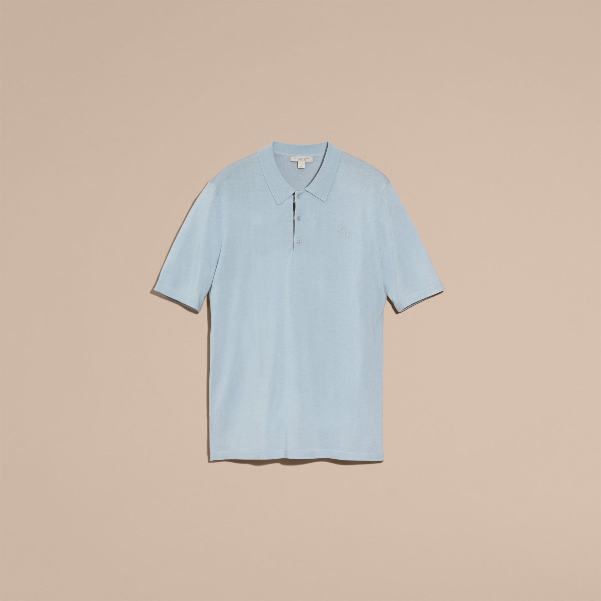Bleu ciel pâle Polo en laine et soie mélangées avec patte à motif check Bleu Ciel Pâle - photo de la galerie 4
