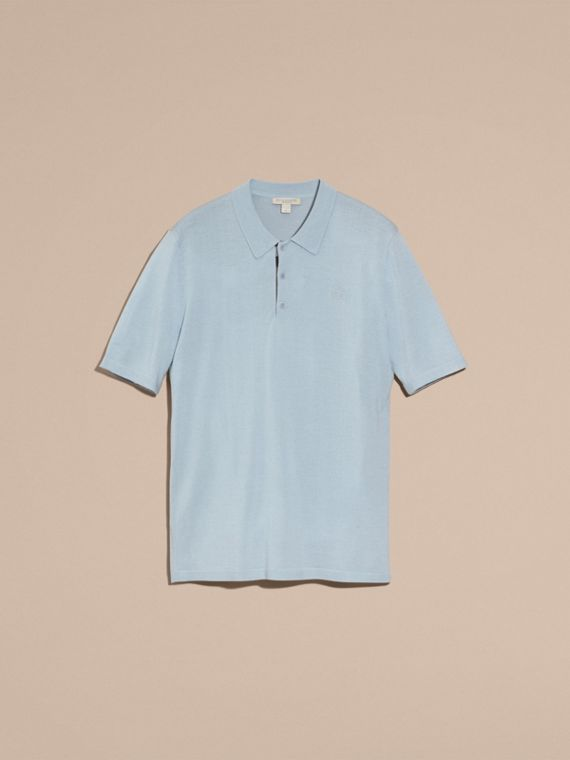 Pale sky blue Check Placket Wool and Silk Blend Polo Shirt Pale Sky Blue - cell image 3