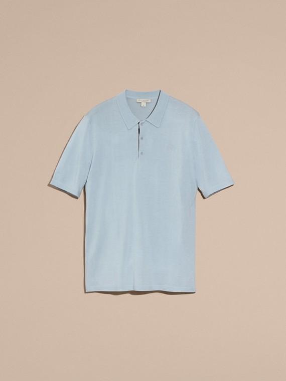 Bleu ciel pâle Polo en laine et soie mélangées avec patte à motif check Bleu Ciel Pâle - cell image 3