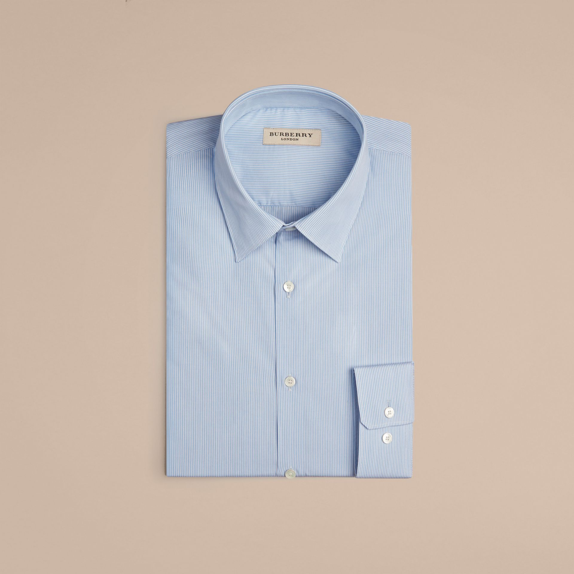Slim Fit Striped Cotton Poplin Shirt in City Blue - Men | Burberry - gallery image 4