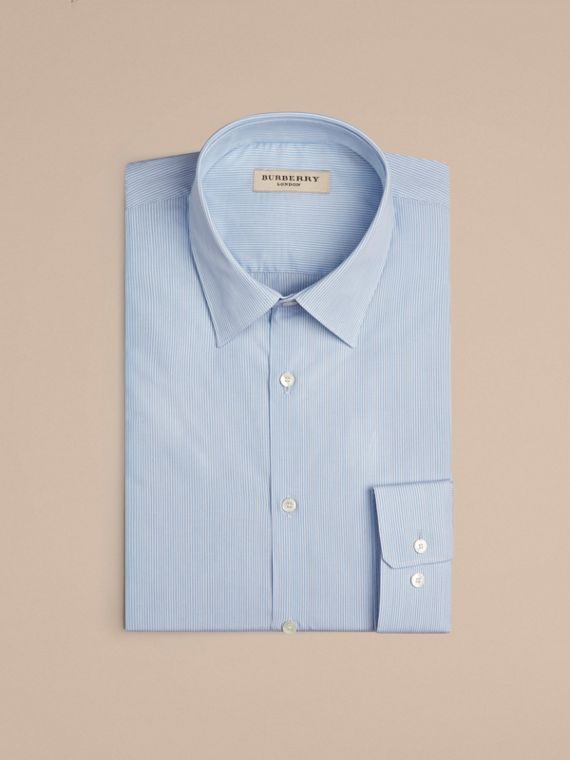 Slim Fit Striped Cotton Poplin Shirt in City Blue - Men | Burberry - cell image 3