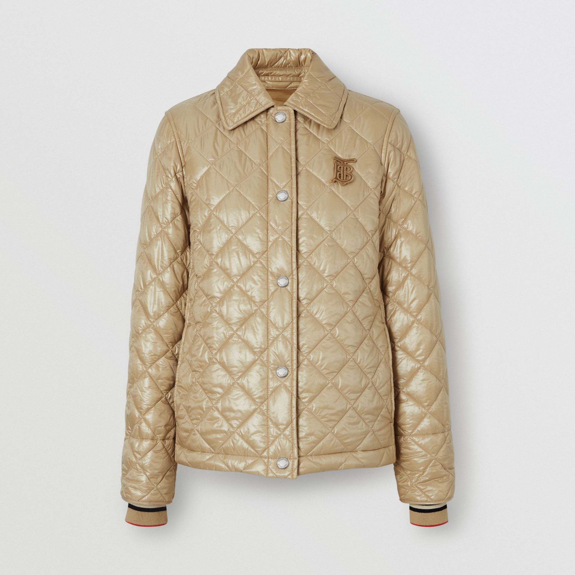 Monogram Motif Diamond Quilted Jacket in Honey - Women | Burberry - gallery image 3