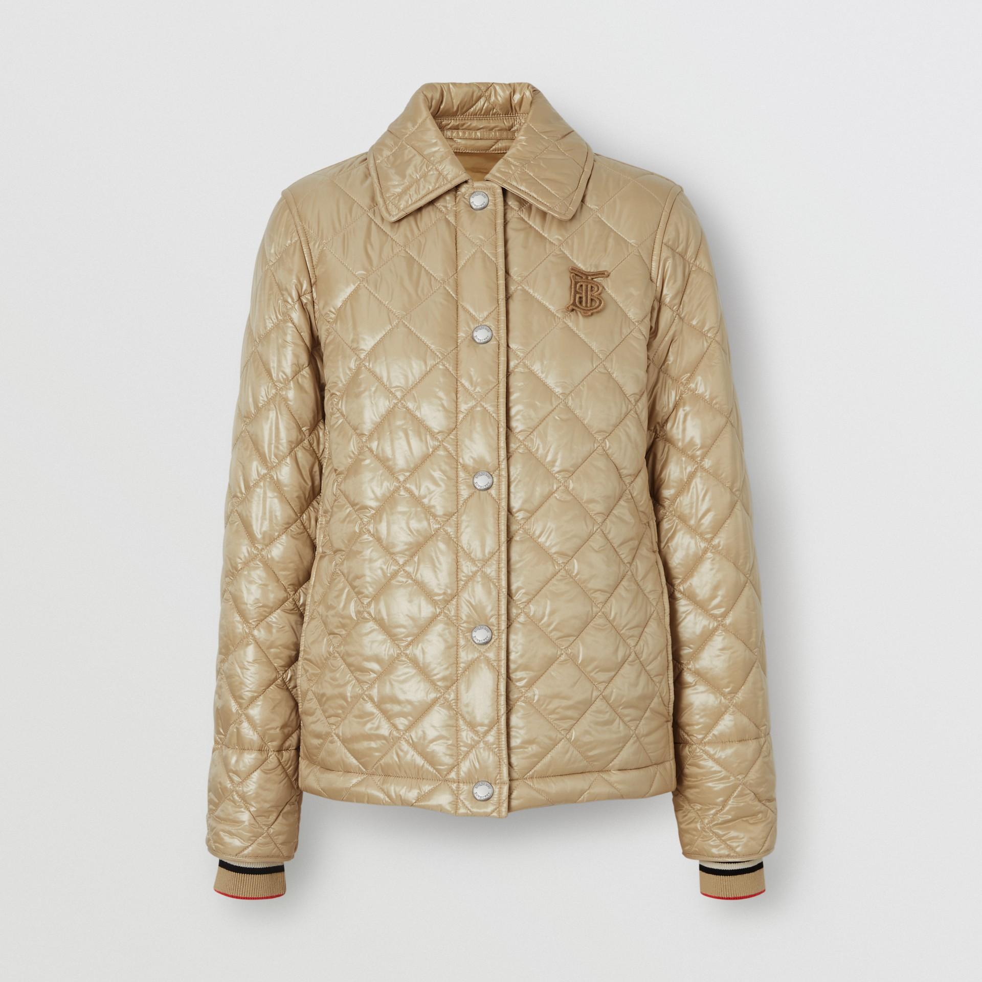 Monogram Motif Diamond Quilted Jacket in Honey - Women | Burberry Hong Kong - gallery image 3