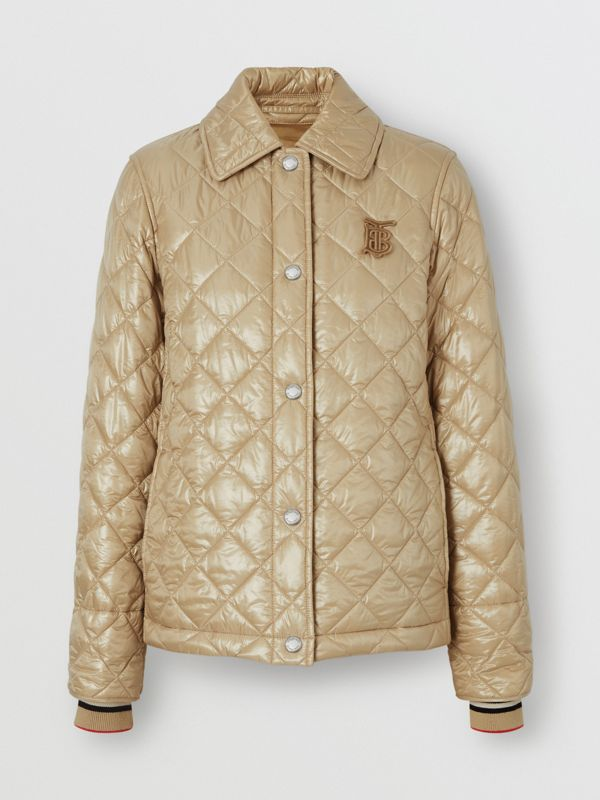 Monogram Motif Diamond Quilted Jacket in Honey - Women | Burberry - cell image 3