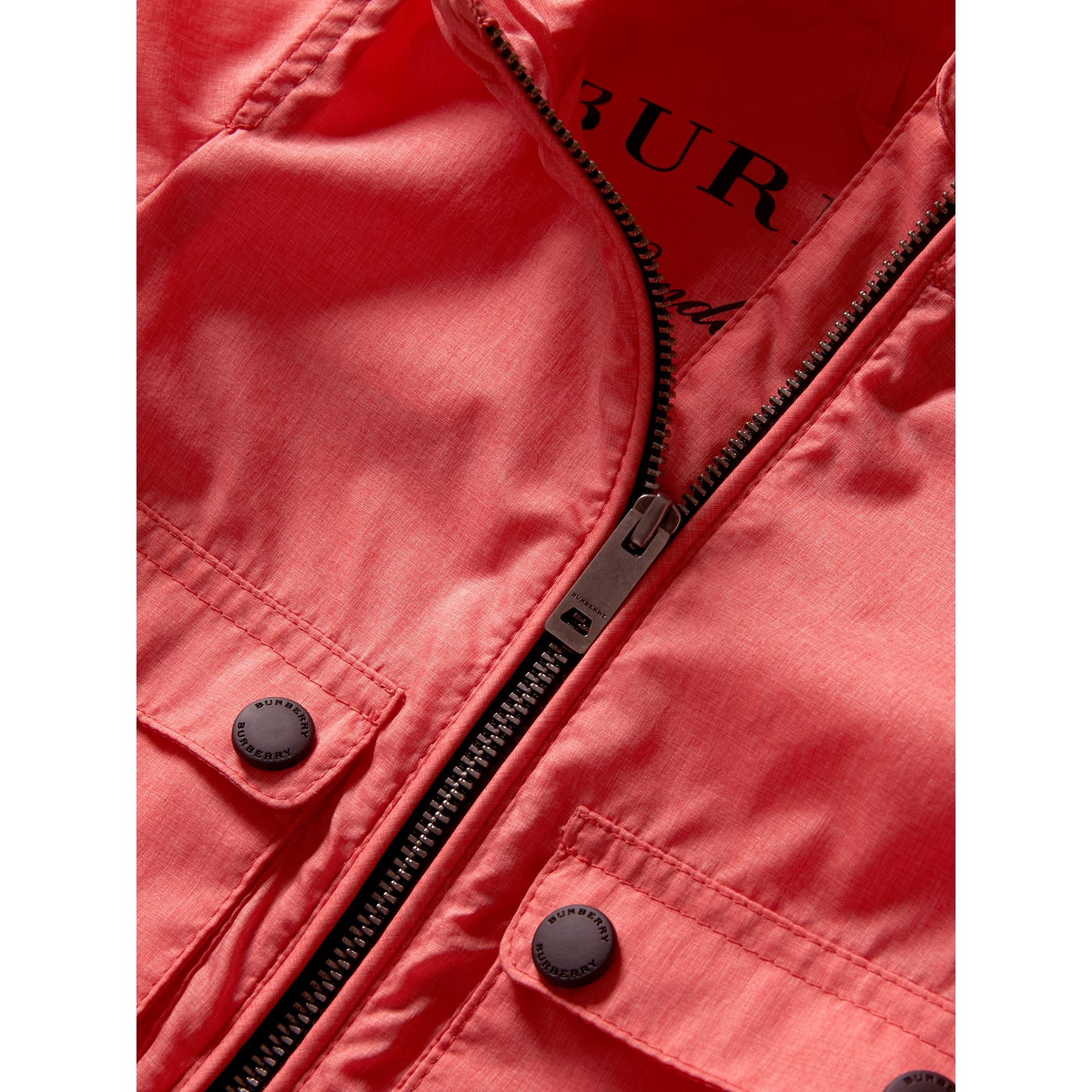 Showerproof Hooded Jacket in Bright Coral Pink | Burberry - gallery image 1