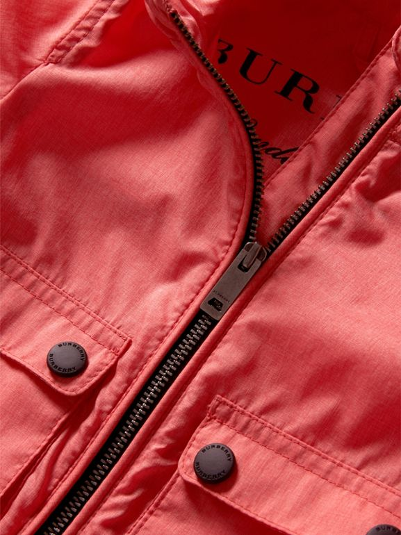 Showerproof Hooded Jacket in Bright Coral Pink - Children | Burberry - cell image 1