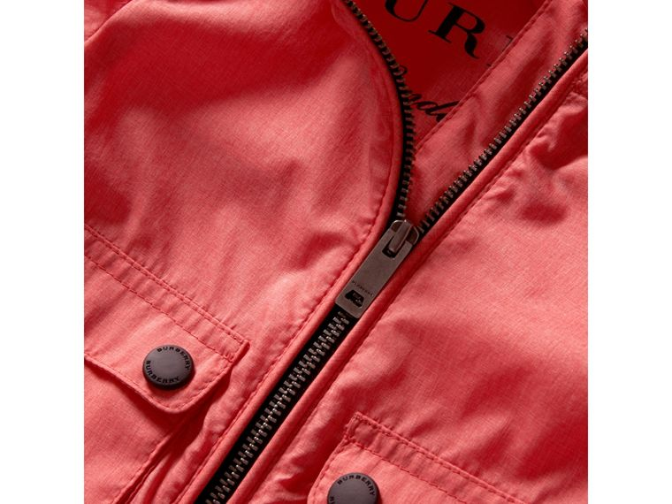 Showerproof Hooded Jacket in Bright Coral Pink | Burberry - cell image 1