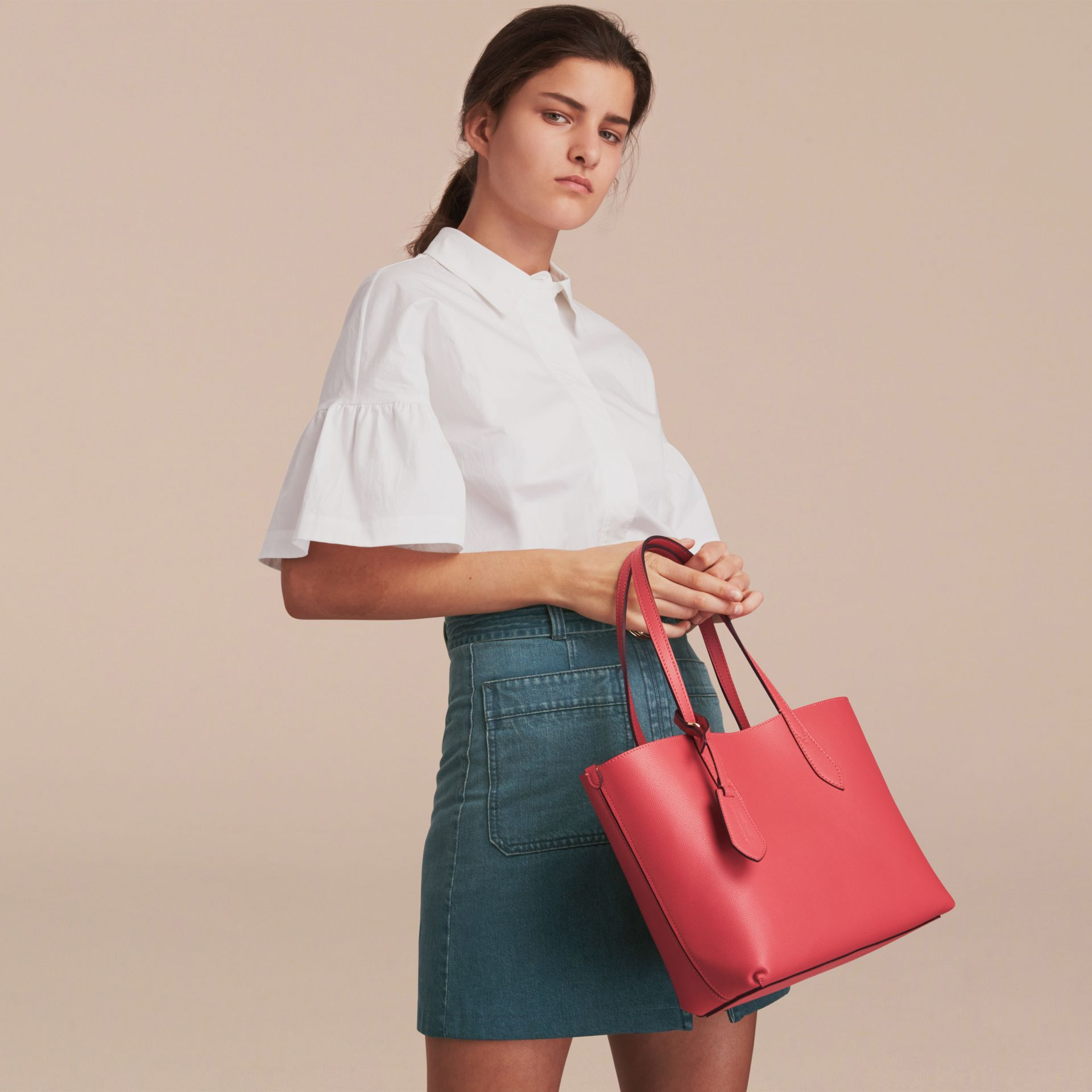 The Small Reversible Tote in Haymarket Check and Leather Coral Red - gallery image 3