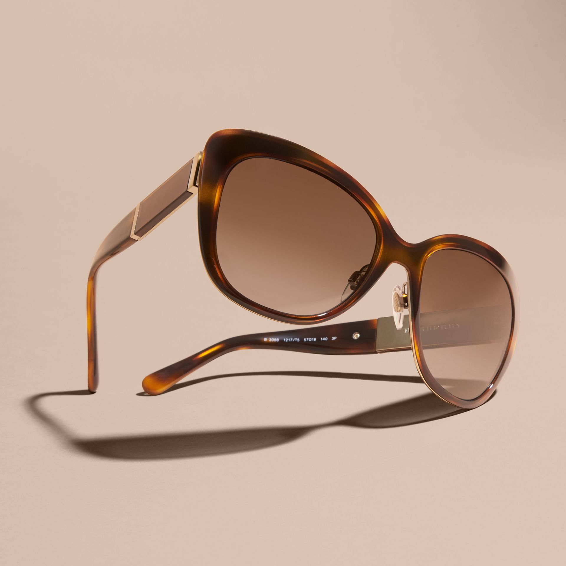 Light russet brown Check Detail Square Cat-eye Sunglasses - gallery image 3