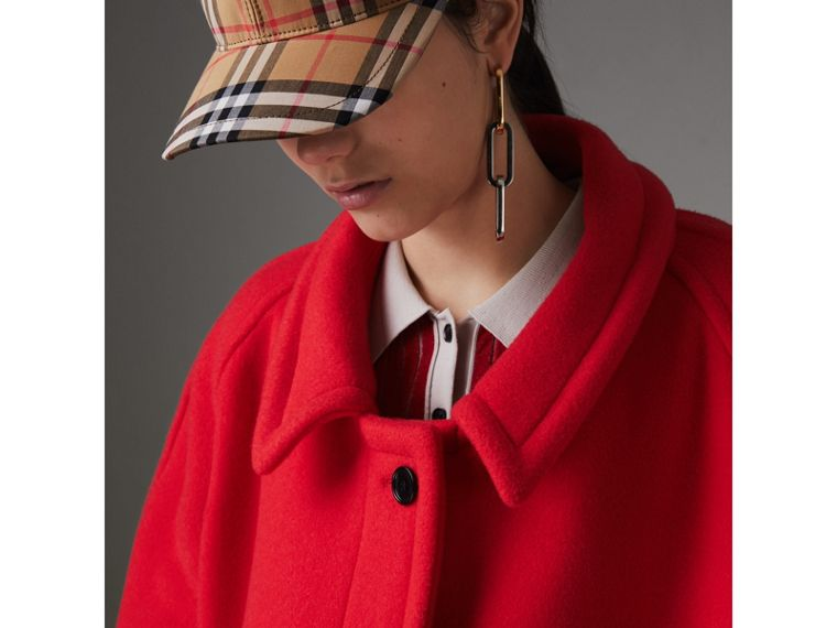 Double-faced Wool Cashmere Oversized Car Coat in Bright Red - Women | Burberry Australia - cell image 1