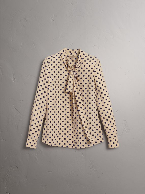 Polka-dot Silk Tie-neck Shirt in Navy - Women | Burberry United Kingdom - cell image 3