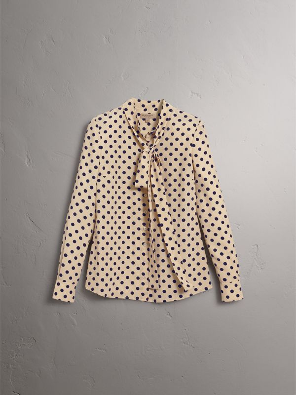 Polka-dot Silk Tie-neck Shirt in Navy - Women | Burberry - cell image 3