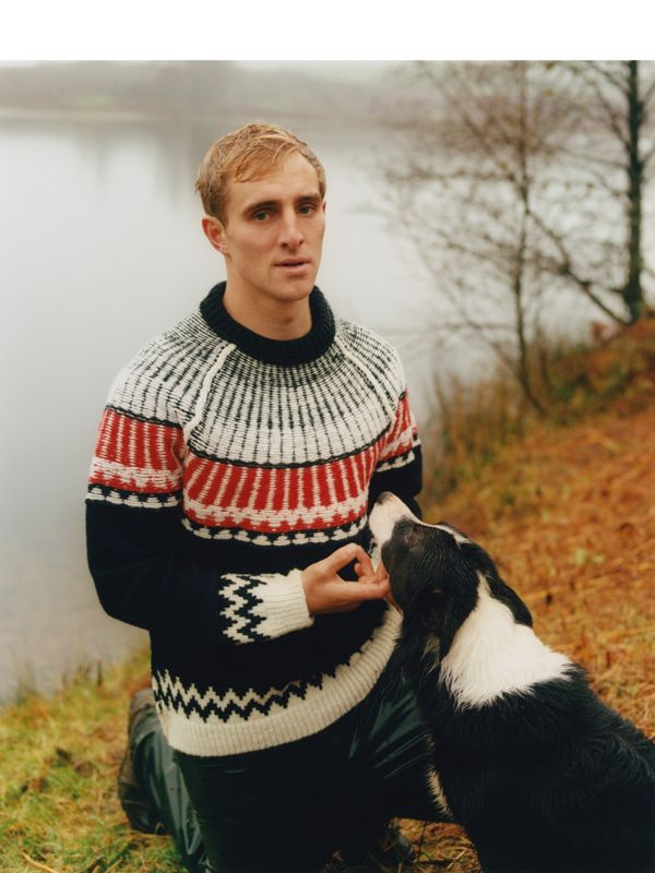 Bertie Hodgson, shepherd. Photographed in the Lake District, wearing Fair Isle wool cashmere.