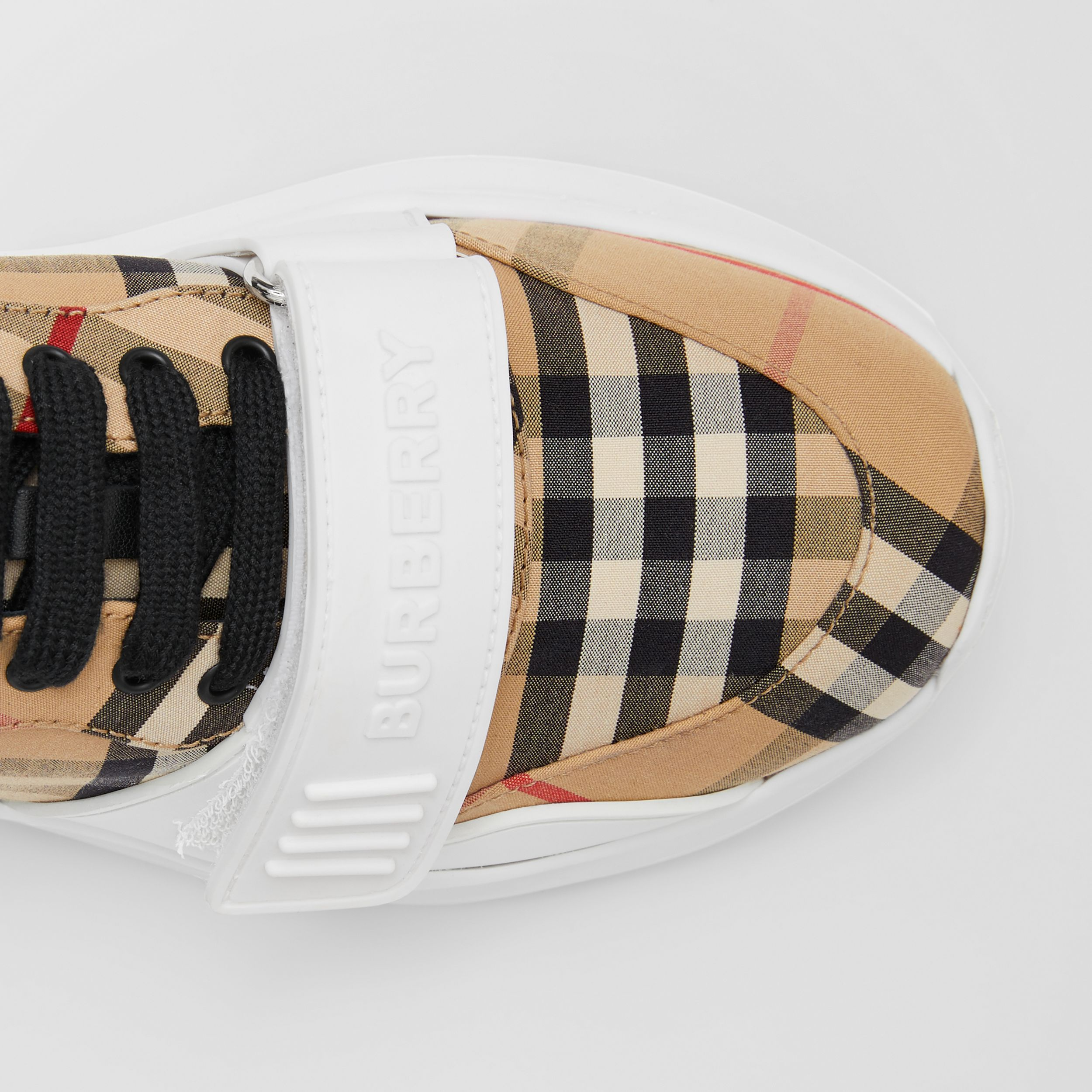Vintage Check Cotton Sneakers in Archive Beige - Women | Burberry - 2