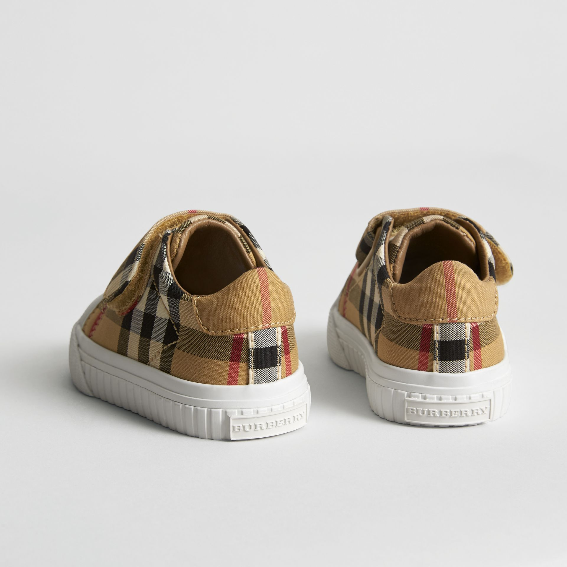 Vintage Check and Leather Sneakers in Antique Yellow/optic White - Children | Burberry Canada - gallery image 2