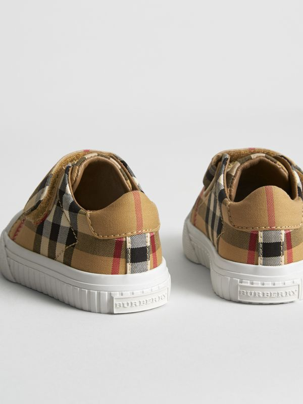 Vintage Check and Leather Sneakers in Antique Yellow/optic White - Children | Burberry Hong Kong S.A.R - cell image 2