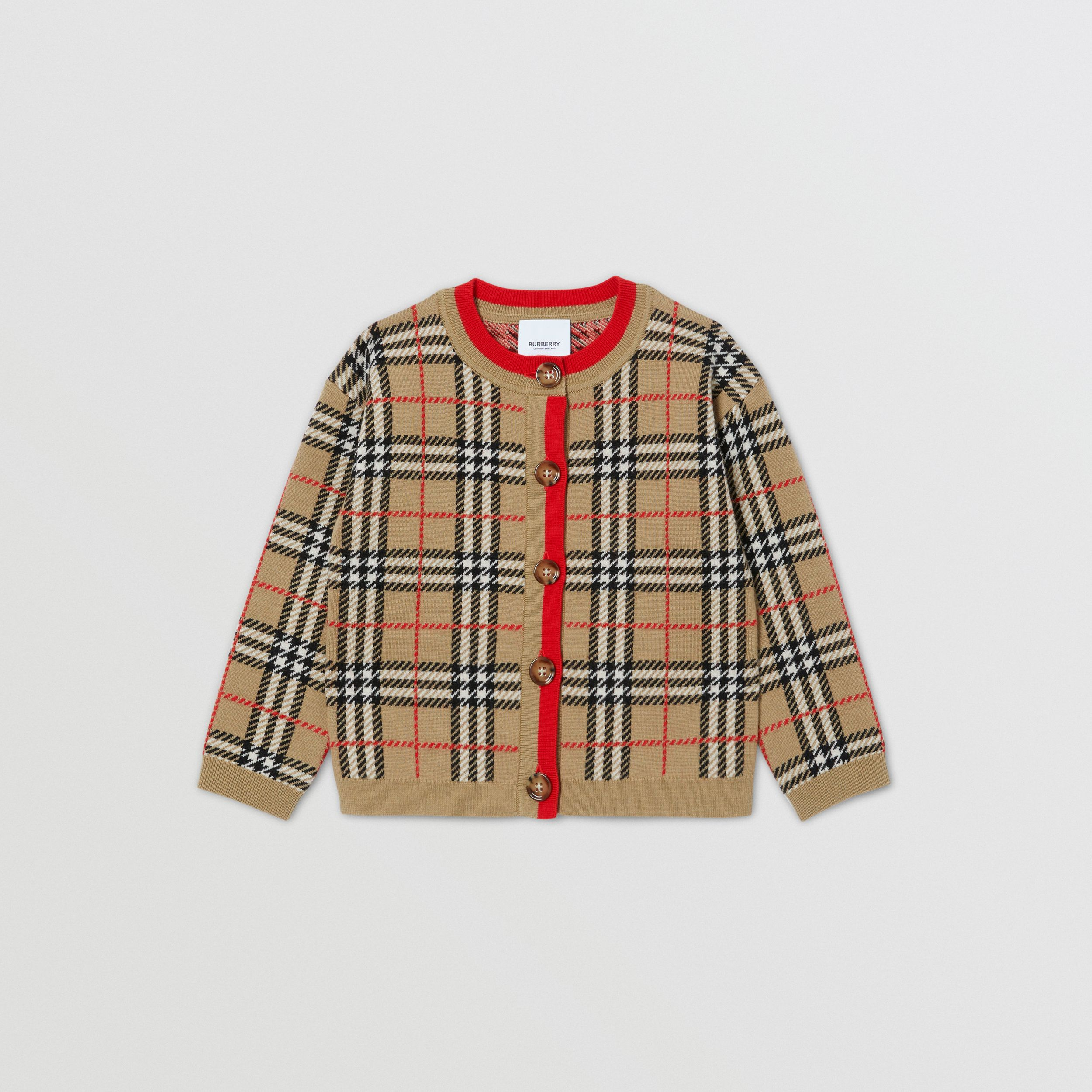 Check Merino Wool Jacquard Cardigan | Burberry - 1