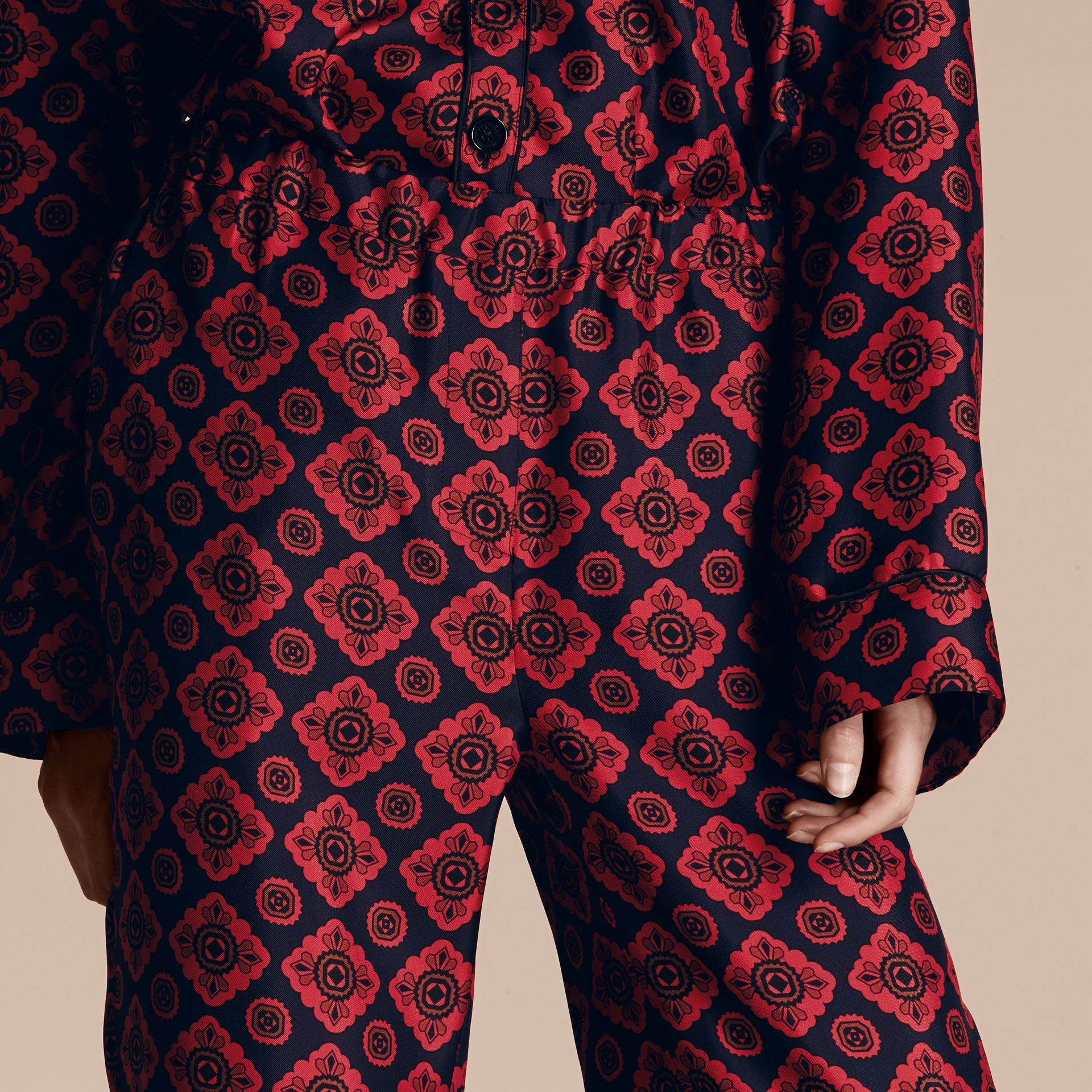 Navy Geometric Tile Print Silk Twill Pyjama-style Trousers - gallery image 5