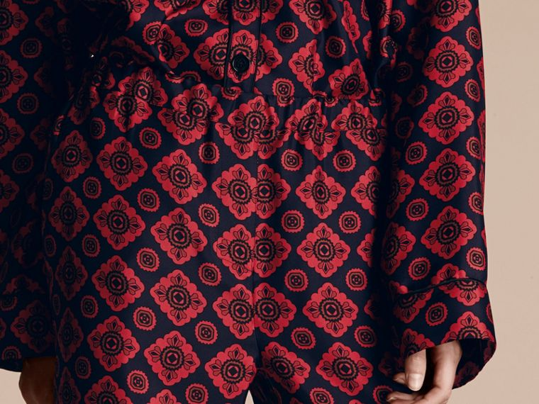 Geometric Tile Print Silk Twill Pyjama-style Trousers - cell image 4