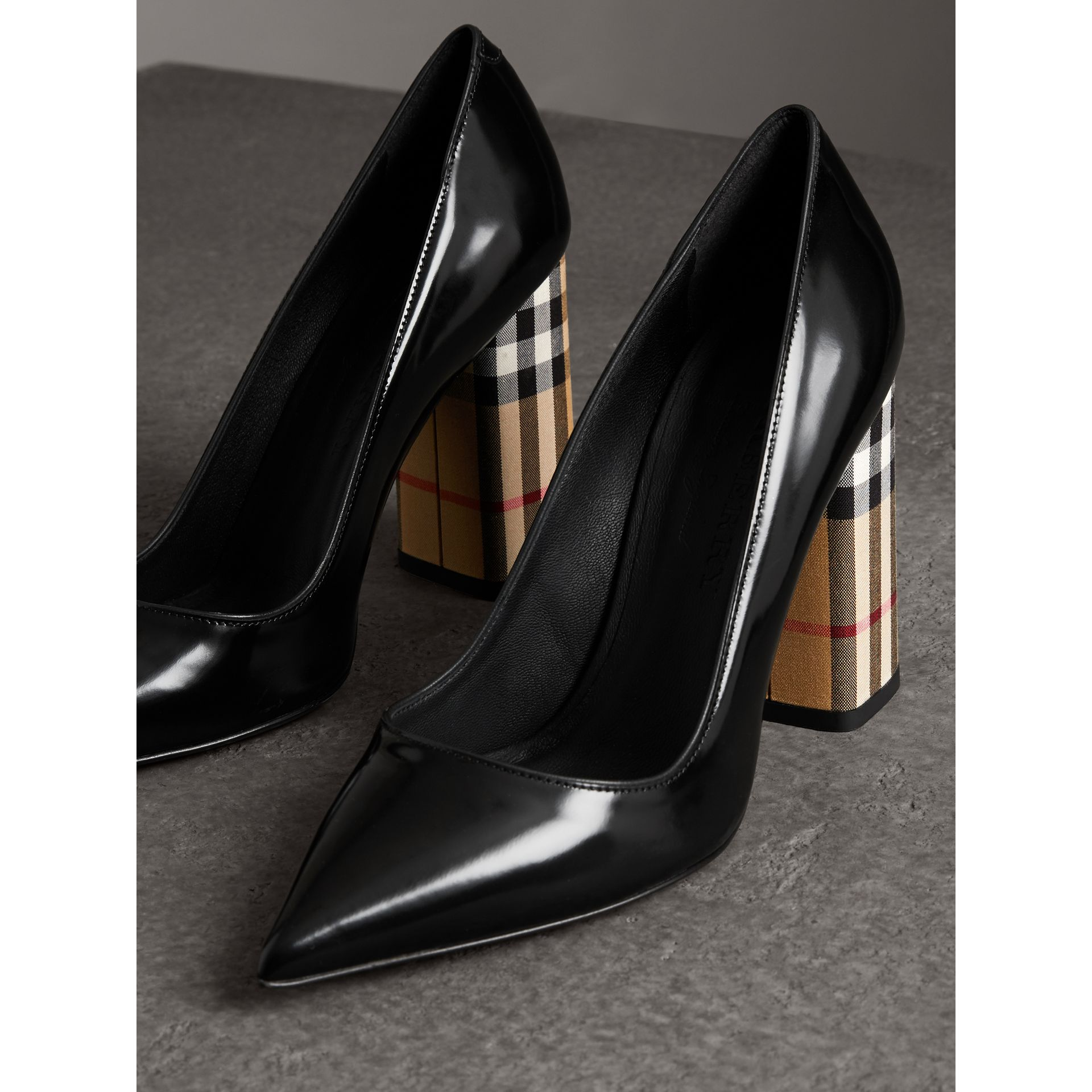 Patent Leather and Vintage Check Block-heel Pumps in Black - Women | Burberry - gallery image 4