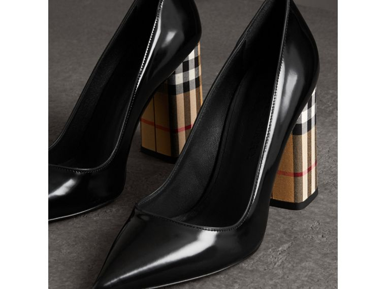Patent Leather and Vintage Check Block-heel Pumps in Black - Women | Burberry - cell image 4
