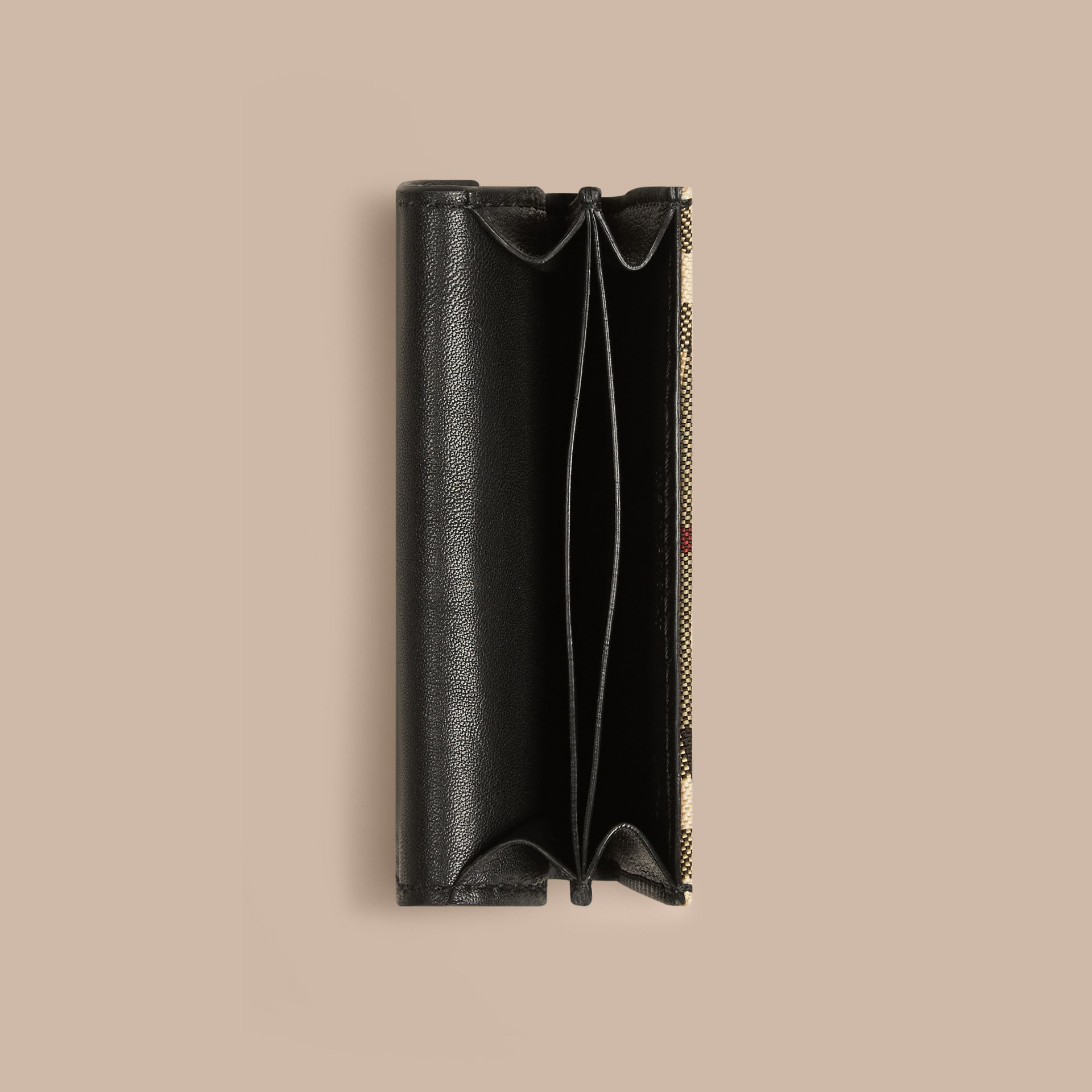 Horseferry Check and Leather Card Case in Black - gallery image 4