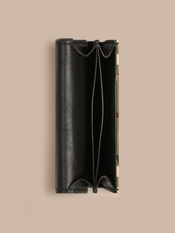 Horseferry Check and Leather Card Case in Black - cell image 3