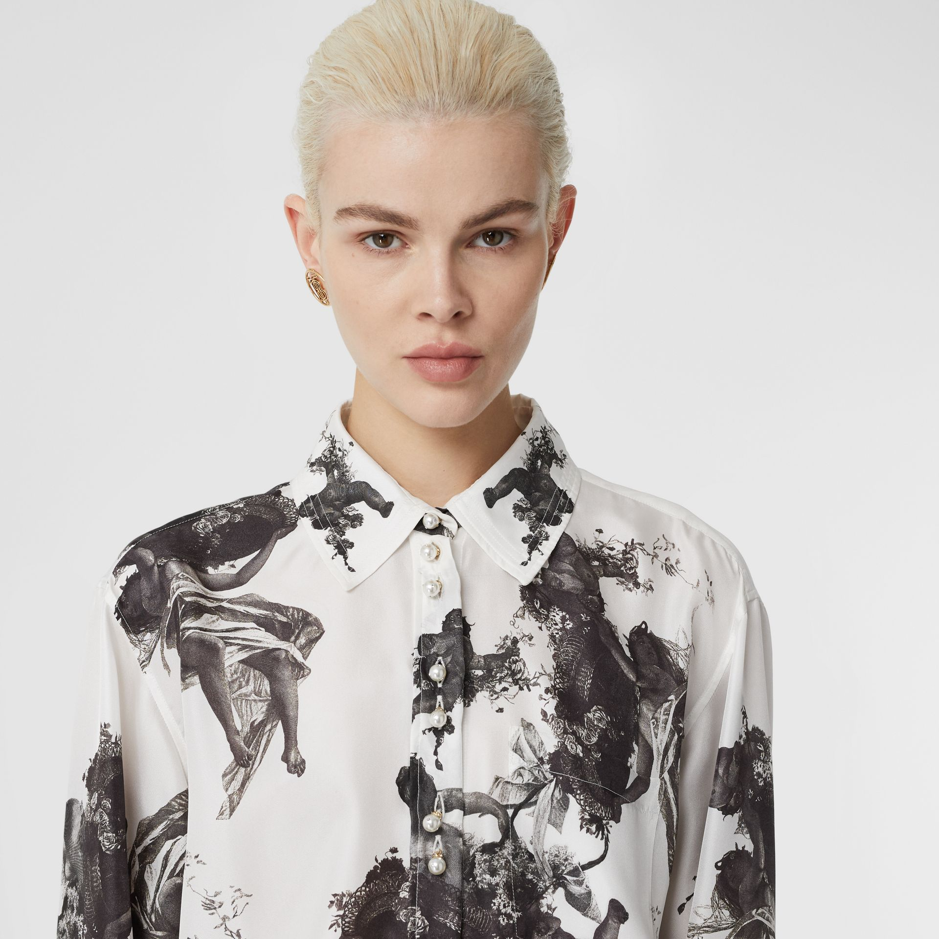 Angel Print Silk Twill Shirt in Black - Women | Burberry - gallery image 1