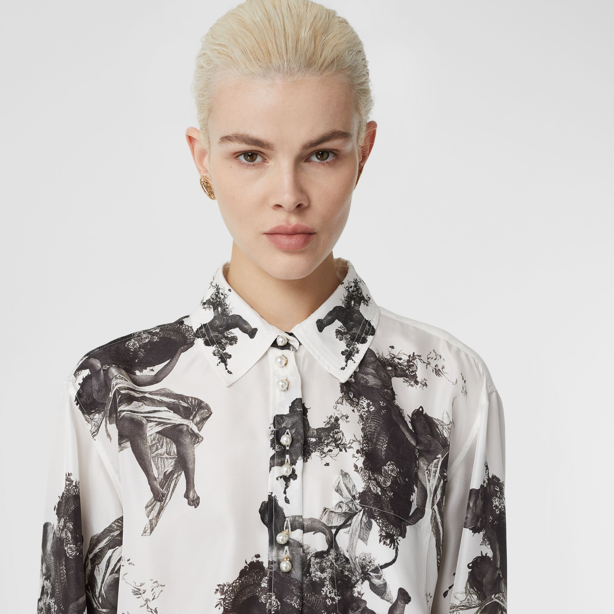Angel Print Silk Twill Shirt in Black - Women | Burberry - 2