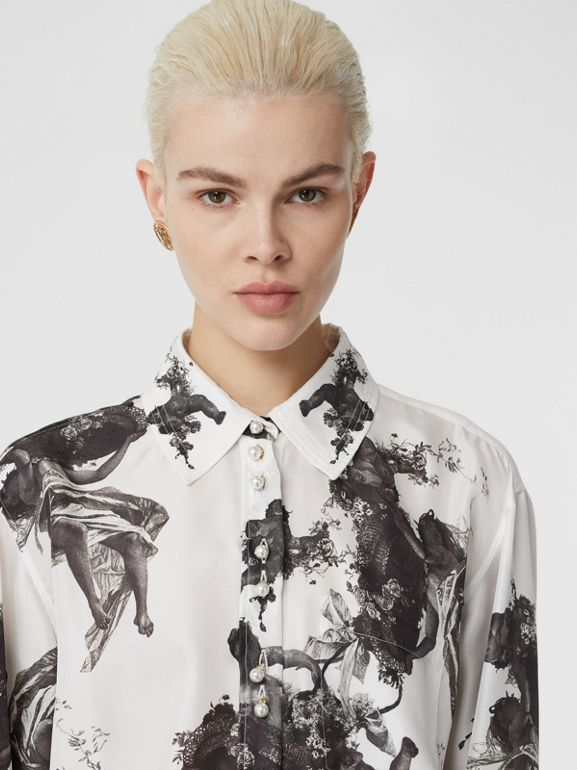 Angel Print Silk Twill Shirt in Black - Women | Burberry - cell image 1