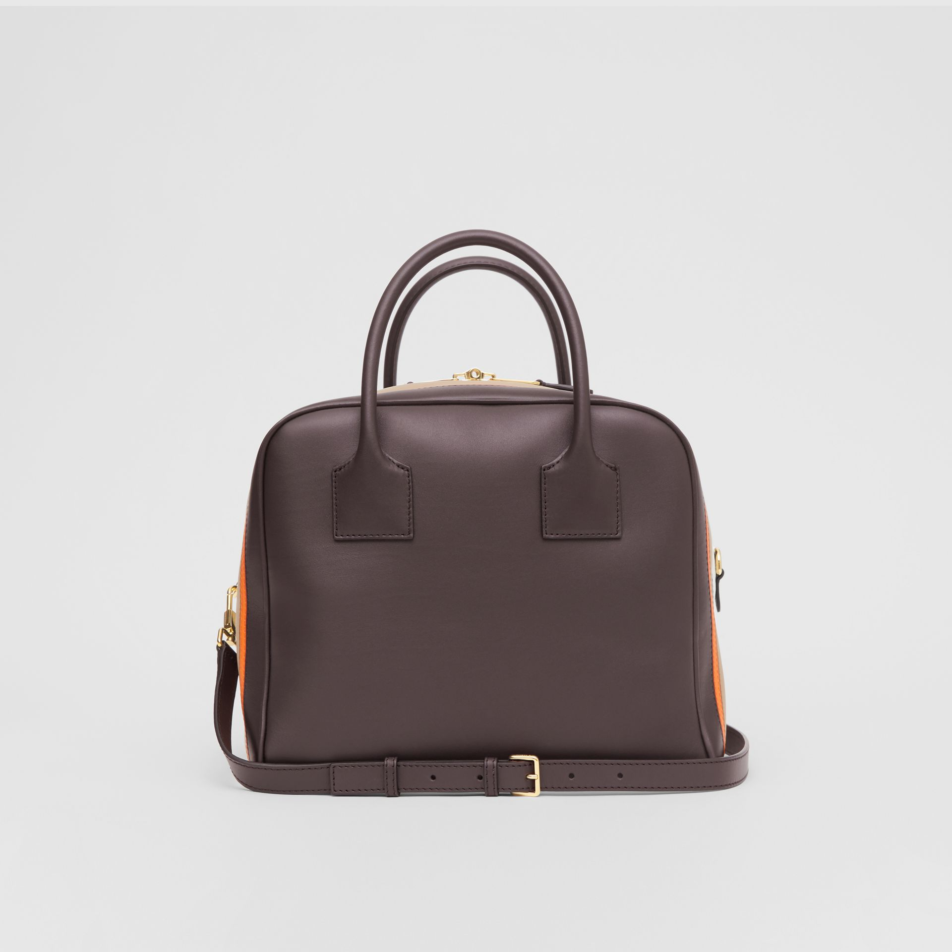 Medium Stripe Intarsia Leather Cube Bag in Coffee/pumpkin - Women | Burberry - gallery image 7