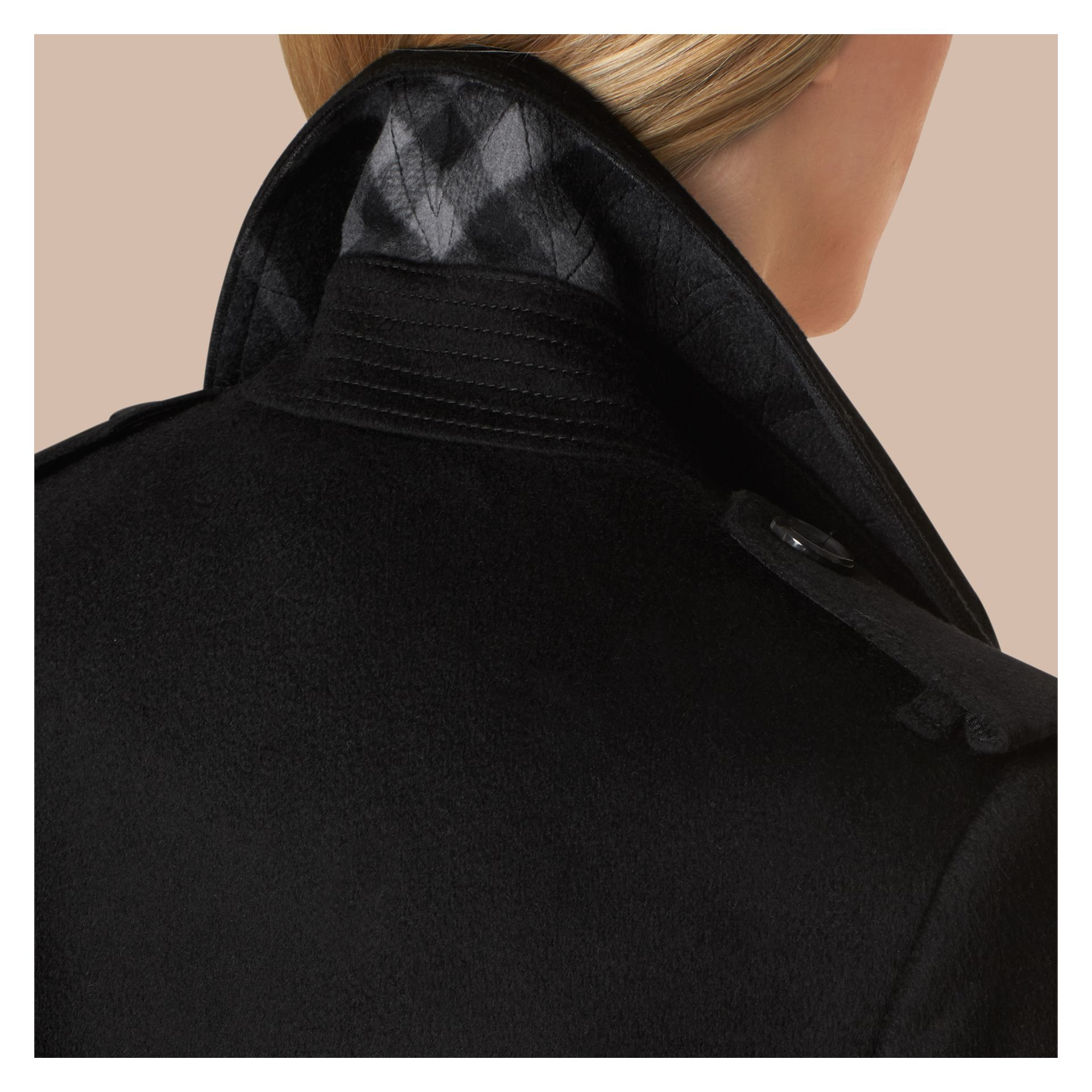 Black Kensington Fit Cashmere Trench Coat Black - gallery image 5