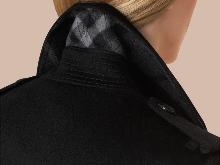 Preto Trench coat de cashmere com corte Kensington Preto - cell image 4