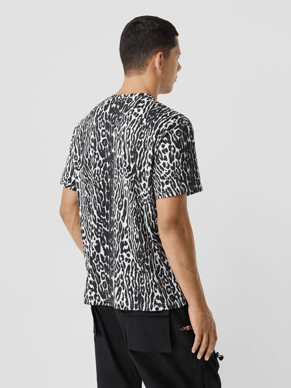 Leopard Print Cotton Oversized T-shirt in Black - Men | Burberry - cell image 2