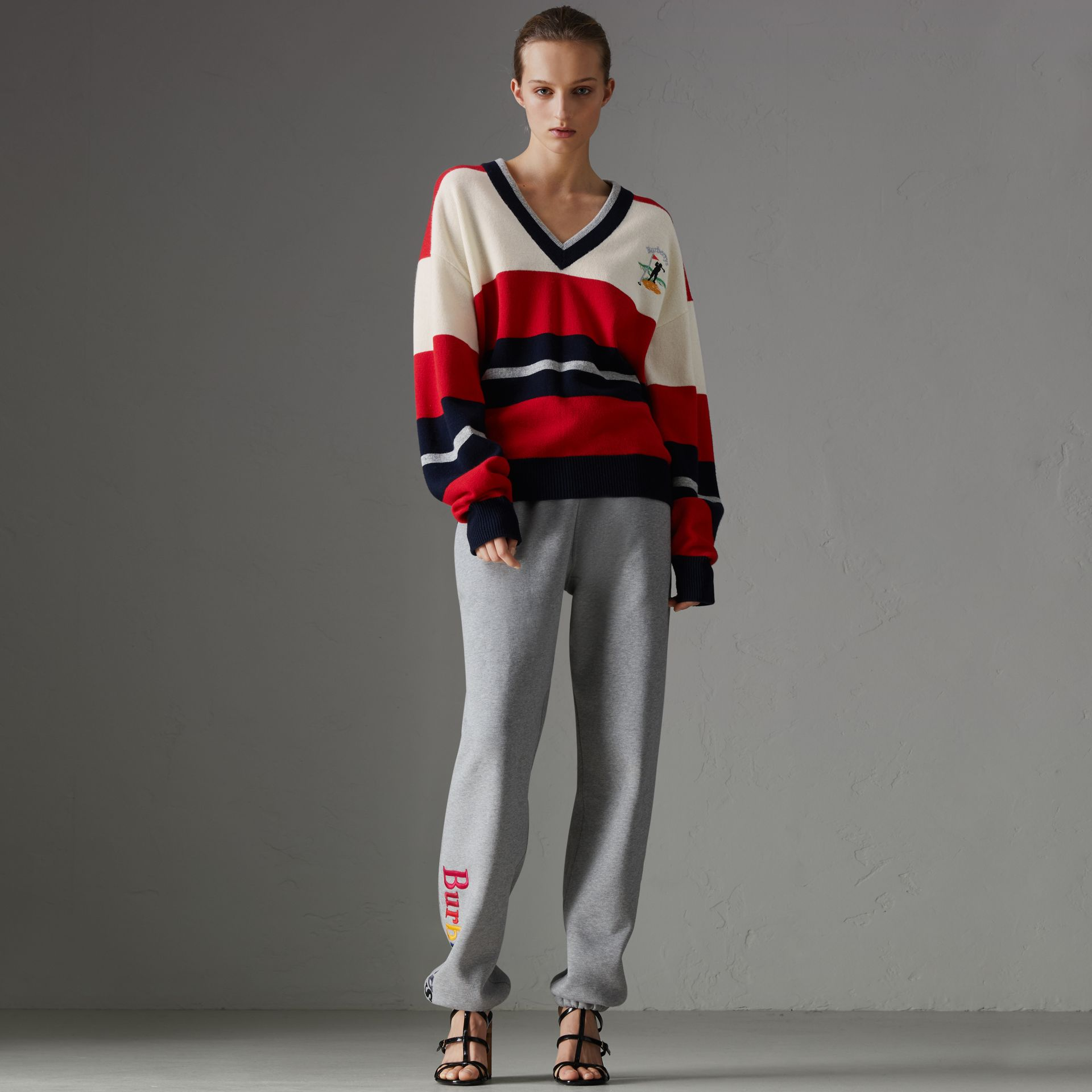 Reissued Striped Lambswool Sweater in Red/white - Women | Burberry United Kingdom - gallery image 0