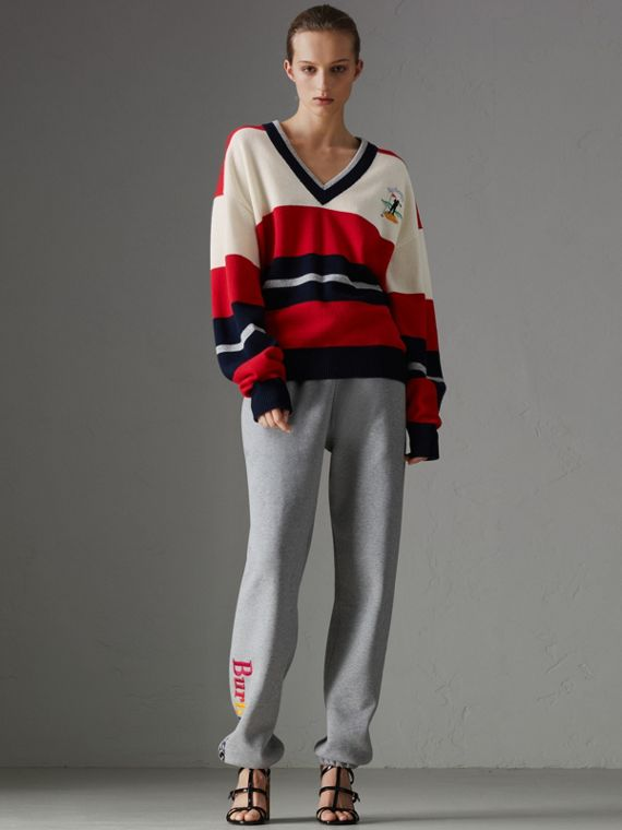 Reissued Striped Lambswool Sweater in Red/white