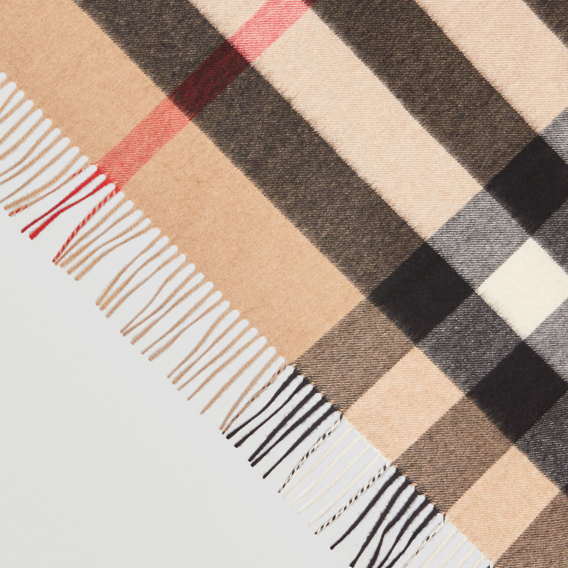 The Burberry Bandana in Check Cashmere in Camel | Burberry Australia - gallery image 1
