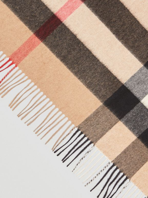 The Burberry Bandana in Check Cashmere in Camel | Burberry Australia - cell image 1