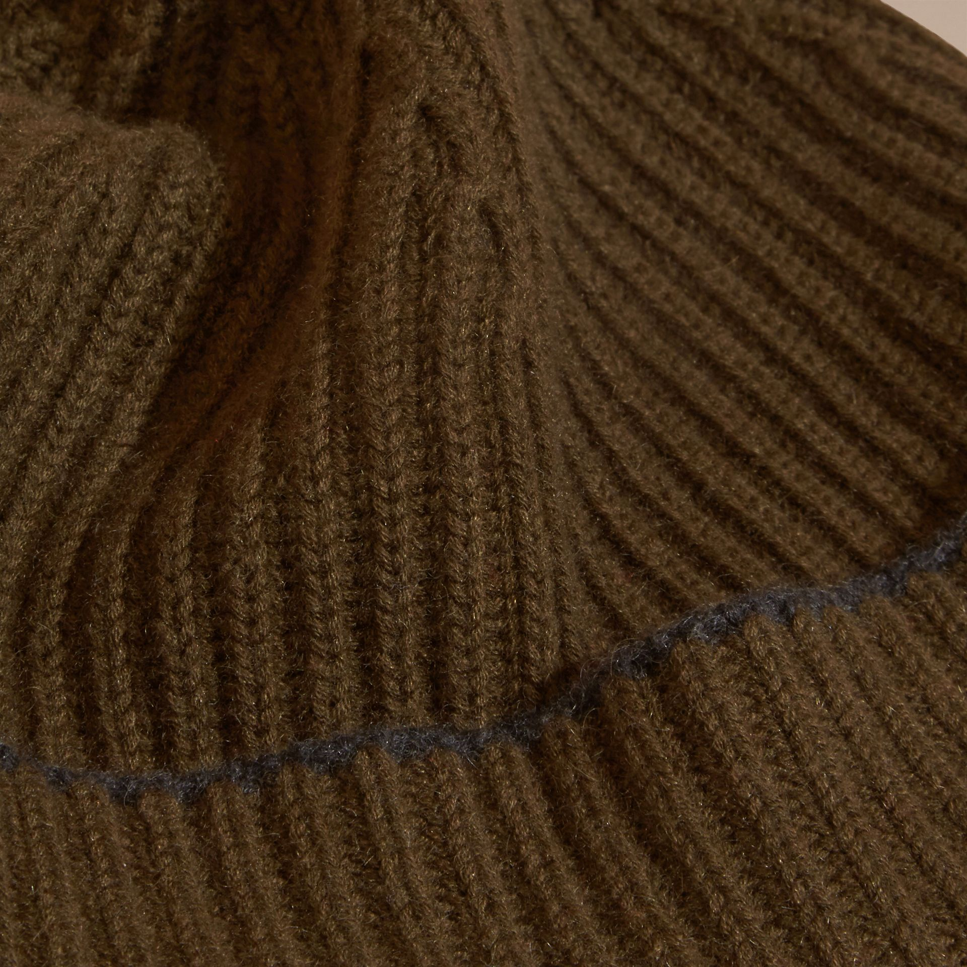 Ribbed Cashmere Beanie with Border Detail in Olive/charcoal - gallery image 2