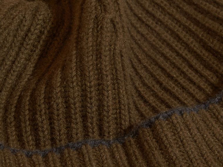 Ribbed Cashmere Beanie with Border Detail in Olive/charcoal - cell image 1