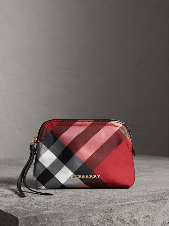 Medium Zip-top Check Technical Pouch in Parade Red - Women | Burberry