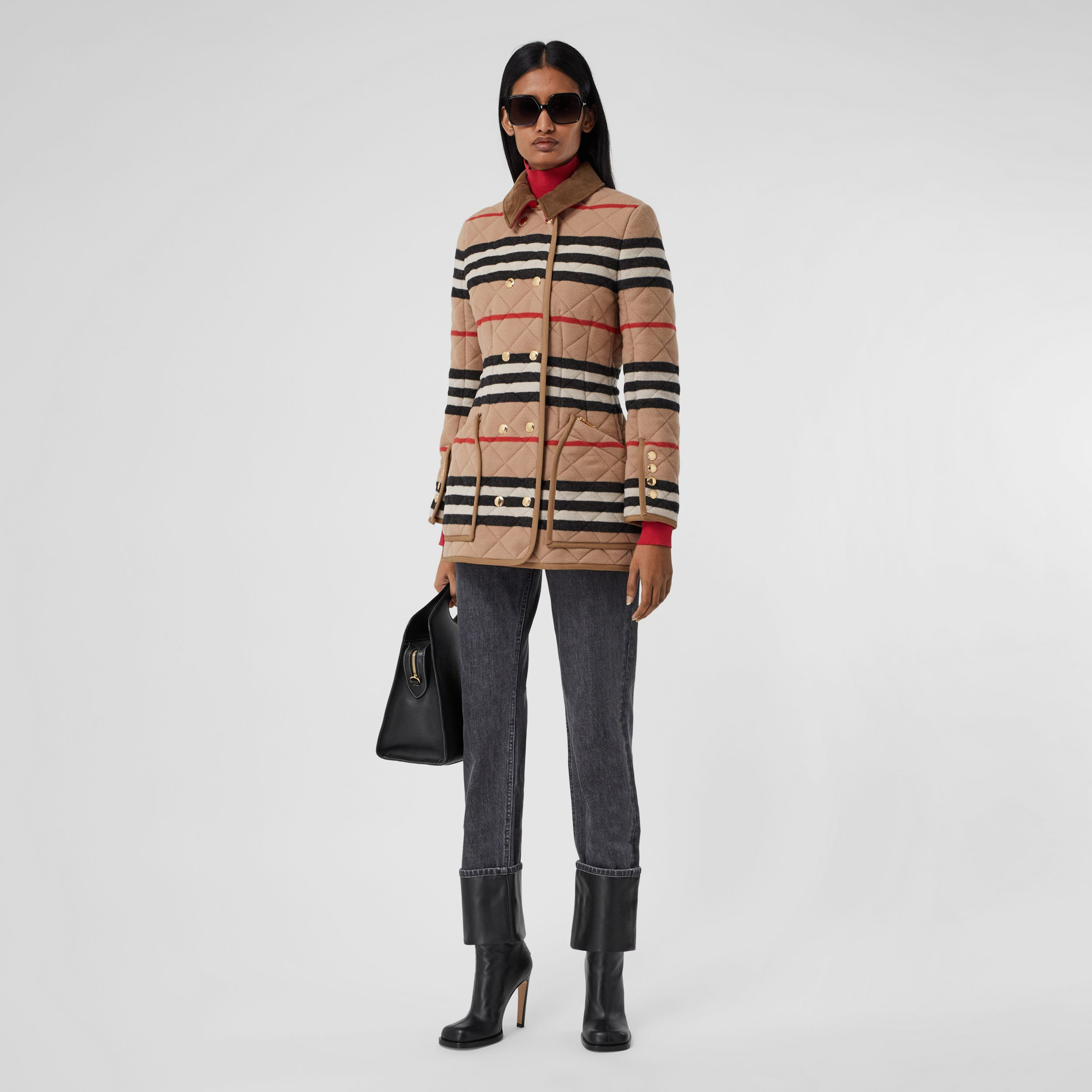Icon Stripe Diamond Quilted Wool Riding Jacket in Light Camel - Women | Burberry - 1