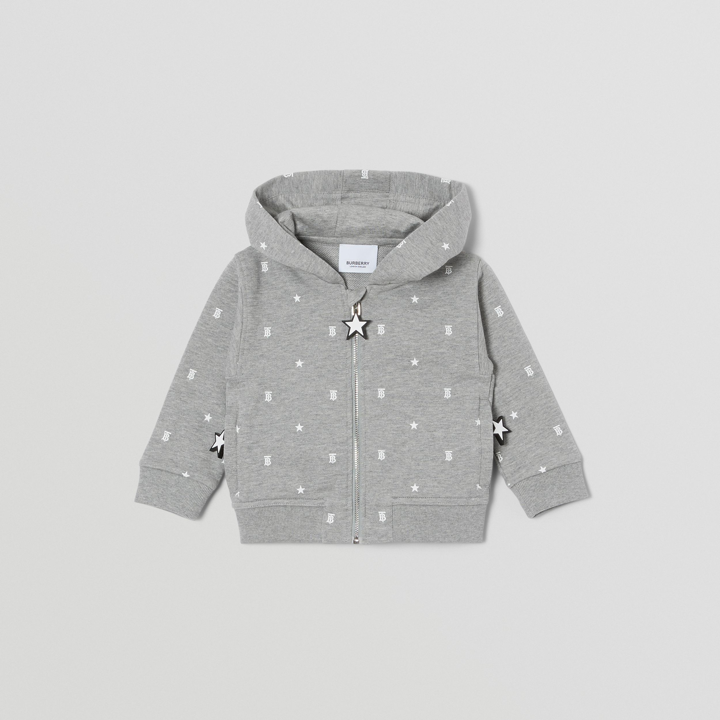 Star and Monogram Print Cotton Hooded Top in Grey - Children | Burberry - 1