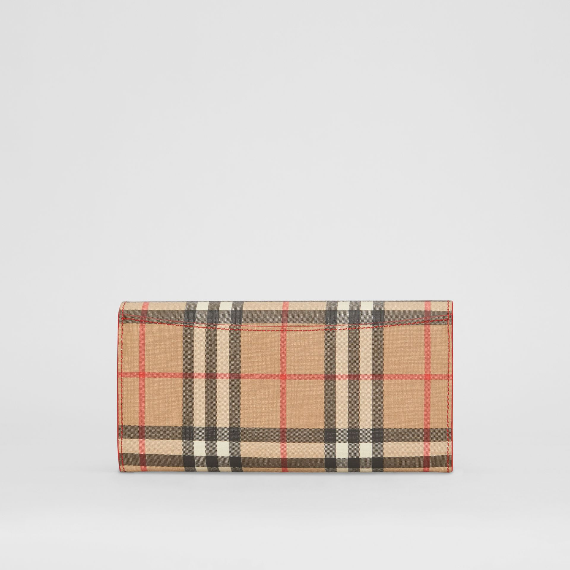 Vintage Check and Leather Continental Wallet in Bright Military Red - Women | Burberry United States - gallery image 5
