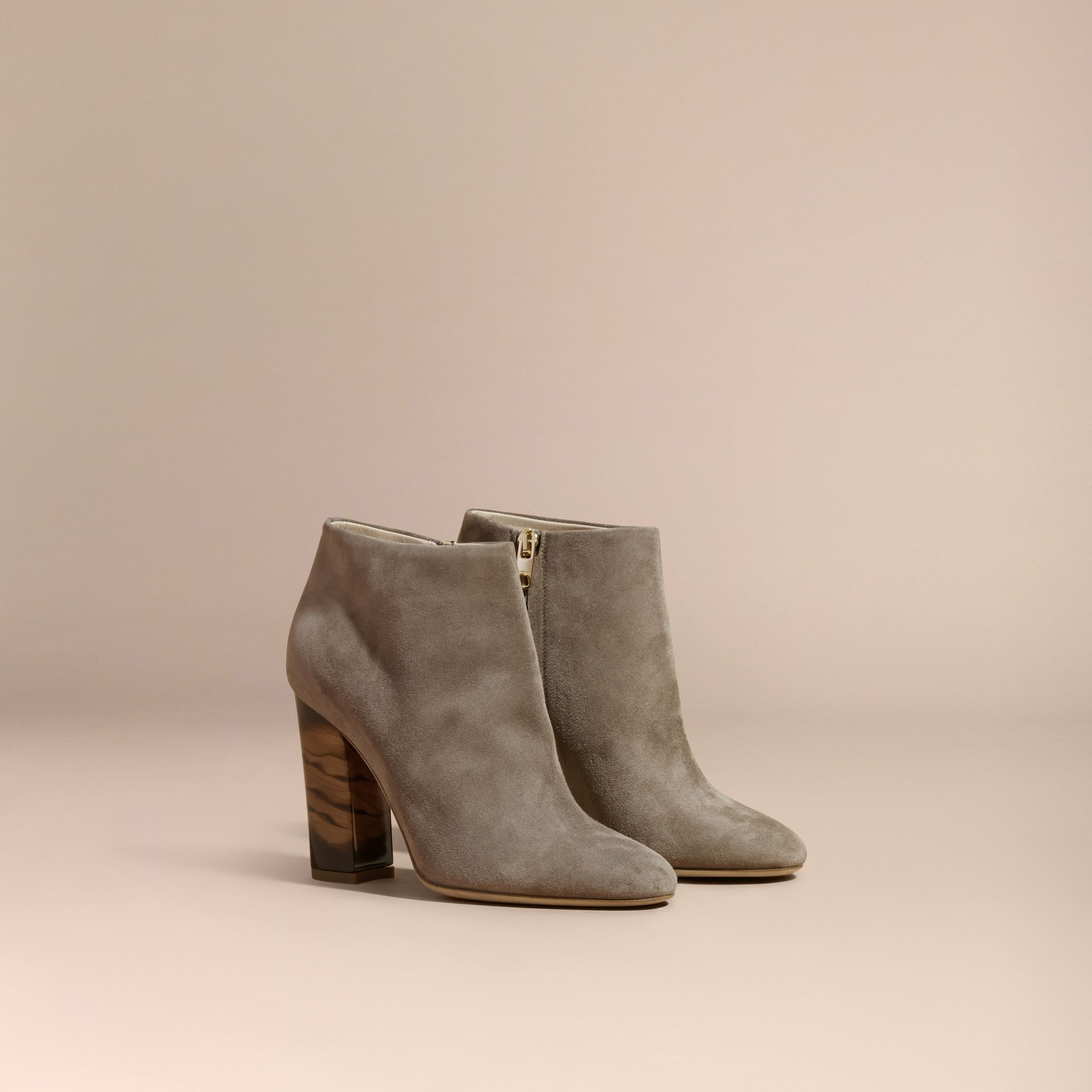 Dark heather melange Suede Ankle Boots - gallery image 1