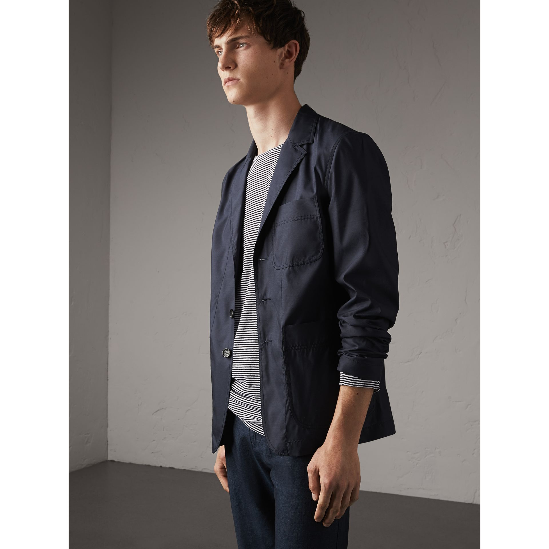 Silk Wool Workwear Blazer in Navy - Men | Burberry - gallery image 5