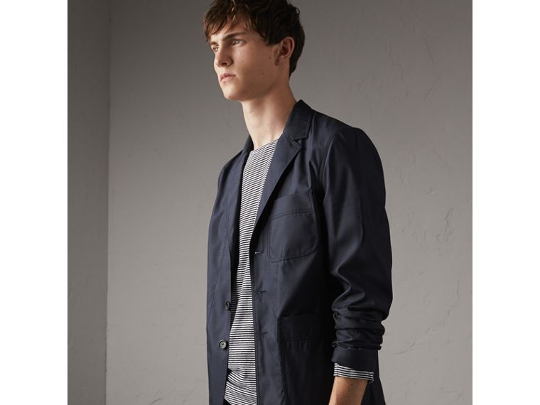 Silk Wool Workwear Blazer in Navy - Men | Burberry United Kingdom - cell image 4