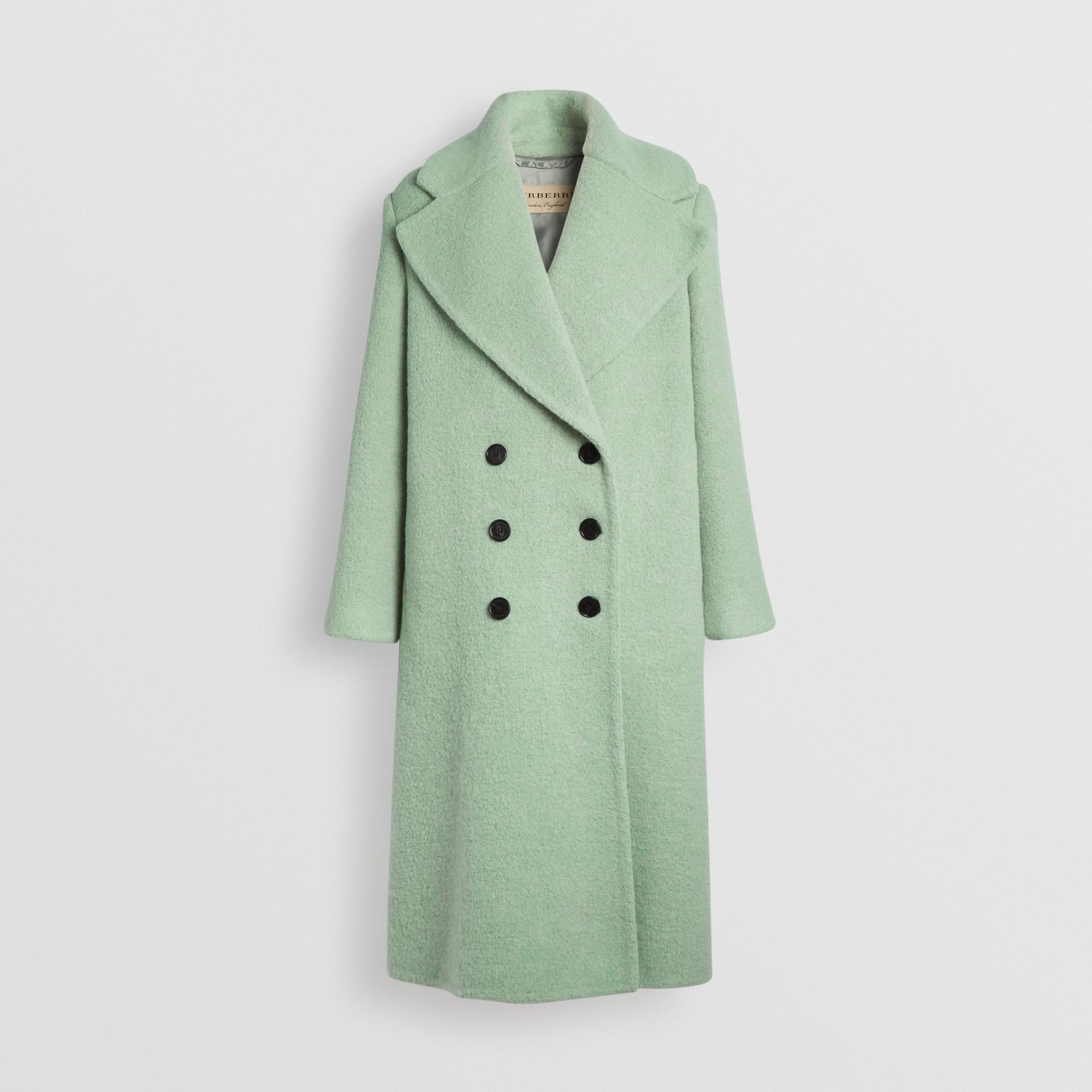 Double-faced Wool Alpaca Blend Oversized Coat in Celadon Green - Women | Burberry United Kingdom - gallery image 3